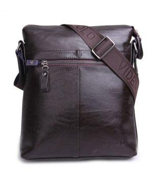 Kožená crossbody taška POLO cez plece v tmavo hnedej farbe