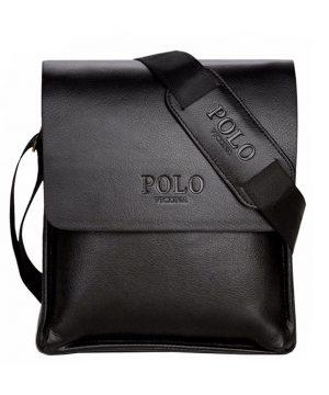Kožená crossbody taška POLO v čiernej farbe