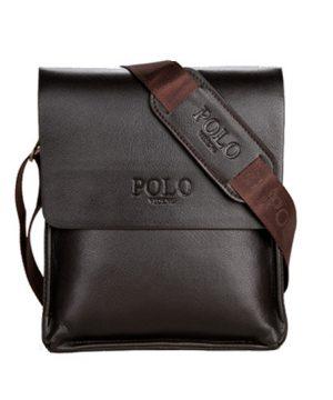 Kožená crossbody taška POLO v tmavo hnedej farbe