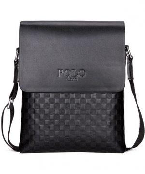 Kožená luxusná taška cez plece POLO v čiernej farbe