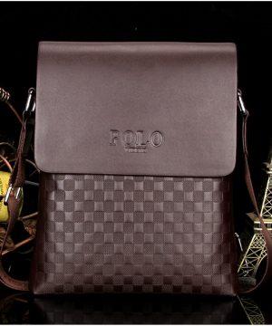 608ba3afa5 Produkt sa už nachádza v zozname želaní Prezerať zoznam želaní · Kožená  luxusná taška cez plece POLO v hnedej farbe
