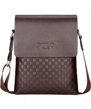 Kožená luxusná taška cez plece POLO v hnedej farbe