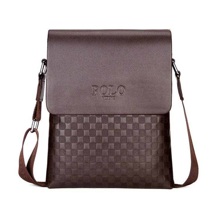 0e9d2c644 Kožená luxusná taška cez plece POLO v hnedej farbe