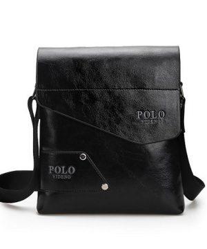Kožená taška POLO cez plece v čiernej farbe (2)