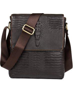 Kožená taška cez rameno s motívom krokodíla v tmavo hnedej farbe (2)