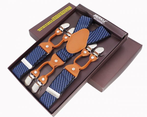 Traky pre pánov, 6 klipov, Svetlo hnedá koža, modré pruhované