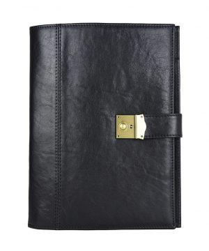 Pánska kožená spisovka so zámkom na kľúč č.8344 v čiernej farbe