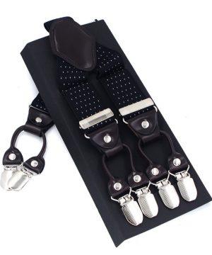 Kožené-pánske-traky-s-elastickým-pásom-s-bodkami-v-čiernej-farbe