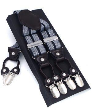 Kožené-pánske-traky-s-elastickým-pásom-s-dekorom-bielych-pásov
