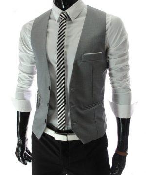 Luxusná pánska vesta ku obleku v sivej farbe