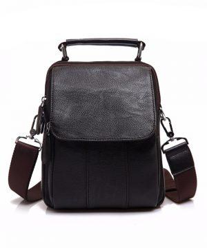 Pánska módna taška cez rameno s držadlom v tmavo hnedej farbe