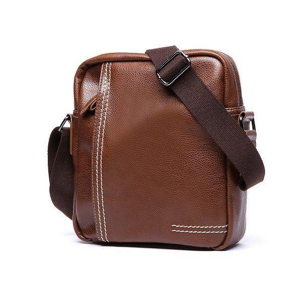 3d09a3118a Pánska štýlová kožená taška cez plece v hnedej farbe z ekokože