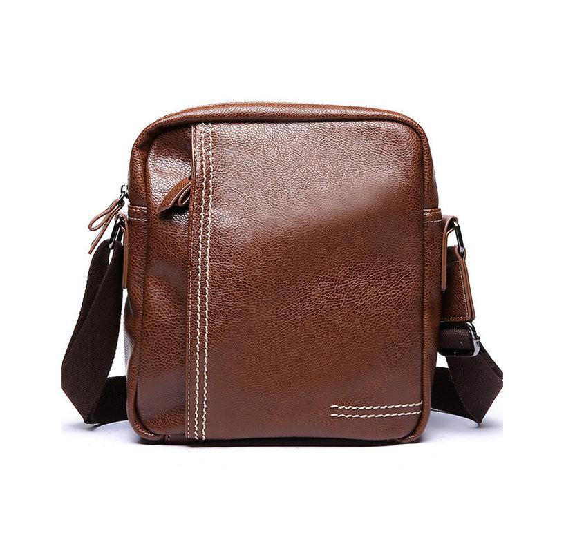 570537db2b84 Pánska štýlová kožená taška cez plece v hnedej farbe z ekokože