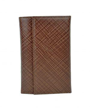 Pánska kožená peňaženka s mriežkovaným dekorom č.8559-1 v hnedej farbe (1)