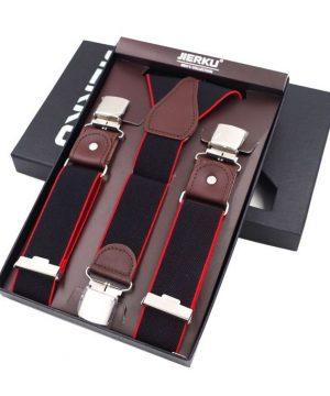 Pánske-kožené-traky-s-elastickým-pásom-3-klipy-čierna-farba-s-červeným-lemovaním.-Traky-sú-jedinečným-doplnkom-pre-každého-muža