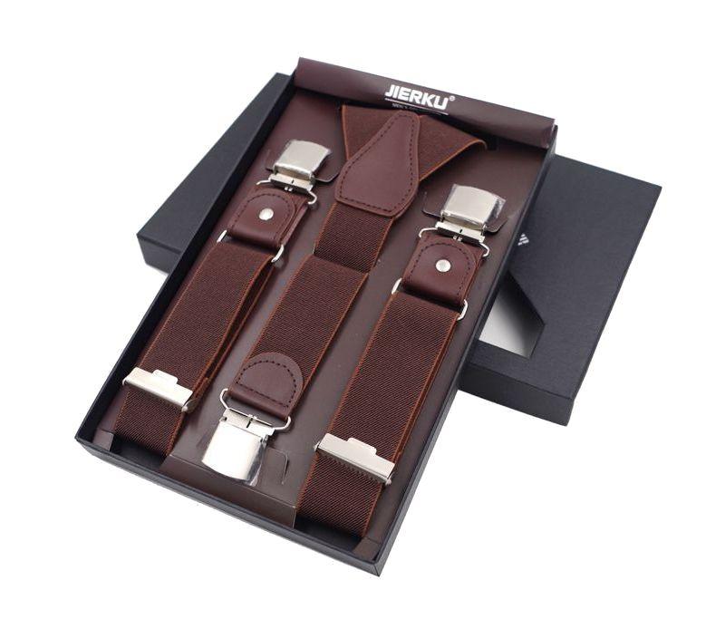 d63a42f0f30bc Kožené pánske traky s elastickým pásom, 3 klipy, hnedá farba
