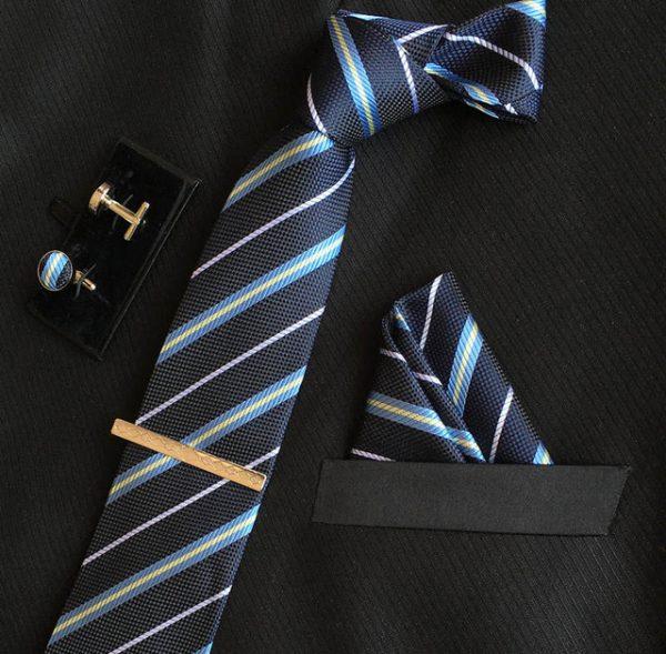 Veľká kravatová sada 06 - kravata+manžetové gombíky+spona+vreckovka