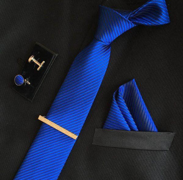 Veľká kravatová sada 15 - kravata+manžetové gombíky+spona+vreckovka