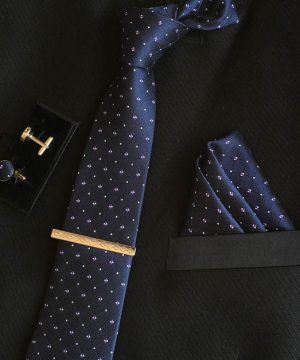 Veľká kravatová sada 16 - kravata+manžetové gombíky+spona+vreckovka