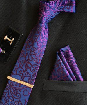 Veľká kravatová sada 07 - kravata+manžetové gombíky+spona+vreckovka