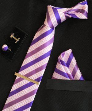 Veľká kravatová sada 08 - kravata+manžetové gombíky+spona+vreckovka