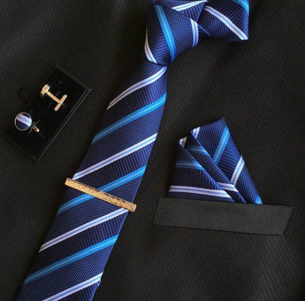 Veľká kravatová sada 09 - kravata+manžetové gombíky+spona+vreckovka