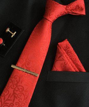 Veľká kravatová sada 11 - kravata+manžetové gombíky+spona+vreckovka