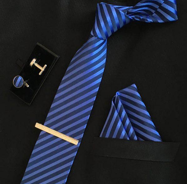 Veľká kravatová sada 17 - kravata+manžetové gombíky+spona+vreckovka