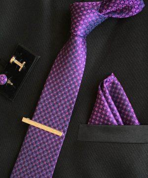 Veľká kravatová sada 13 - kravata+manžetové gombíky+spona+vreckovka