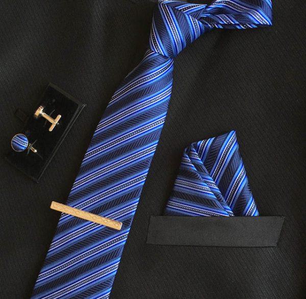 Veľká kravatová sada 14 - kravata+manžetové gombíky+spona+vreckovka