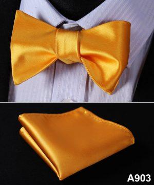 Pánsky motýlikový set - motýlik a vreckovka, v žlto-pomarančovej farbe