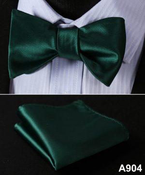 Pánsky motýlikový set - motýlik a vreckovka, v tmavo-zelenej farbe
