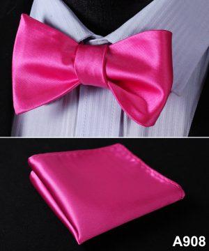 Pánsky motýlikový set - motýlik a vreckovka v ružovej farbe