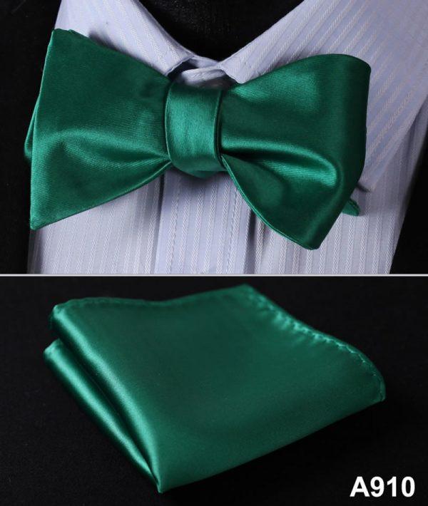 Pánsky motýlikový set - motýlik a vreckovka v zelenej farbe
