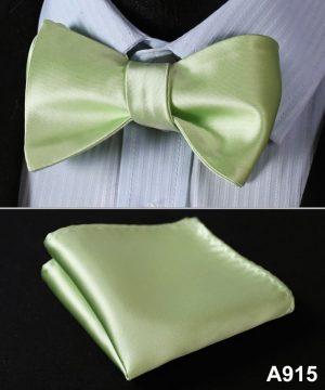 Pánsky motýlikový set - motýlik a vreckovka v svetlo-zelenej farbe