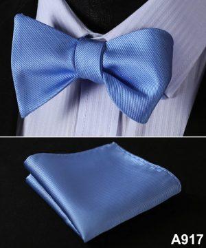 Pánsky motýlikový set - motýlik a vreckovka v svetlo-modrej farbe