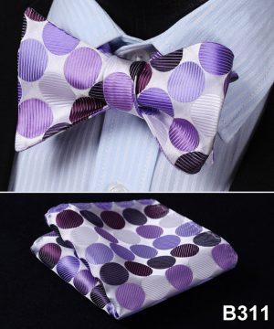 Pánsky motýlikový set - motýlik a vreckovka s ružovo-fialovými bodkami