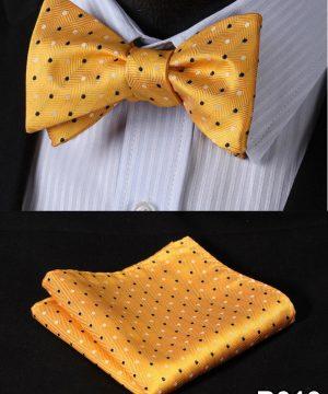 Pánsky motýlikový set - motýlik a vreckovka v žltej farbe s bodkami