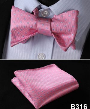 Pánsky motýlikový set - motýlik a vreckovka v ružovej farbe s bodkami