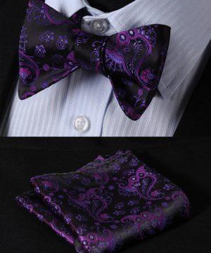 Pánsky motýlikový set - motýlik a vreckovka s fialovo-čiernym vzorom