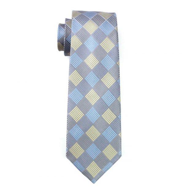 Pánska kravata z hodvábu so štvorčekmi v pastelových farbách