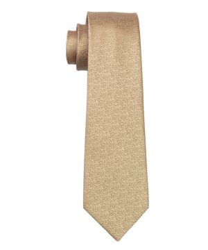 Pánska kravata z hodvábu s jemnou zlato-hnedou štruktúrou