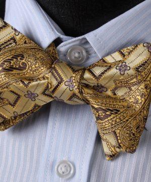 Pánsky motýlikový set - motýlik a vreckovka so vzorom v zlatej farbe)