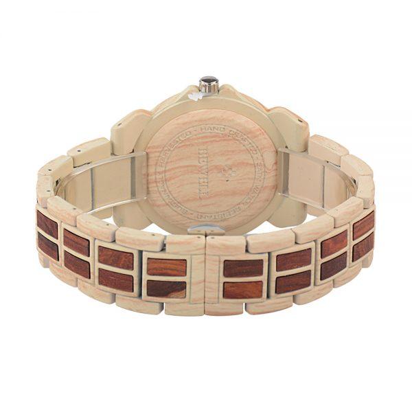 Prepracované drevené pánske hodinky z červeno a svetlého dreva
