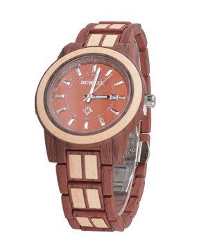 Prepracované drevené pánske hodinky z červeno-hnedého dreva