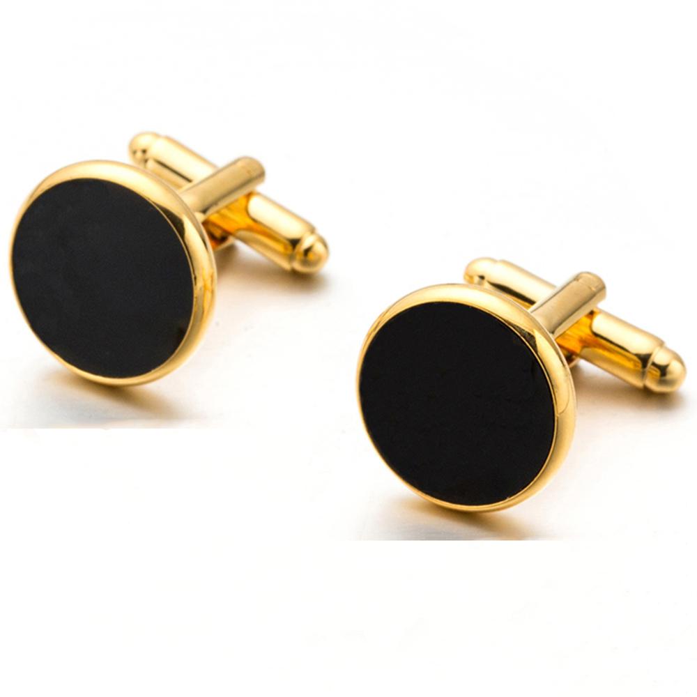 4790d7ceb54c Elegantné manžetové gombíky v zlato-čiernej farbe