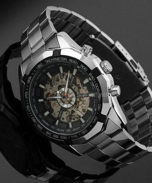 Luxusné analógové pánske hodinky so samo-natáčacím mechanizmom-čierne