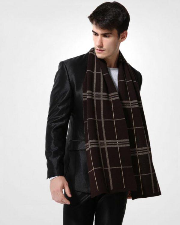 Kvalitný pánsky šál z vlny a bavlny ( 180 x 30 cm ) - Vzor 14