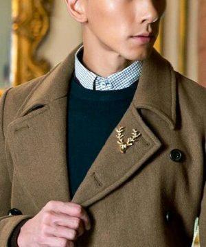 Prepracovaná brošňa pre pánov - zlatá jelenia hlava