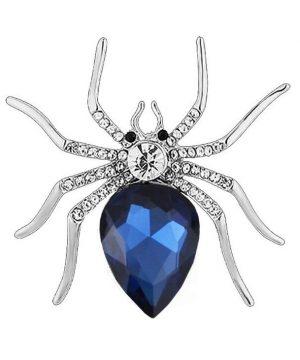 Prepracovaná brošňa pre pánov - detailný pavúk s kryštálmi